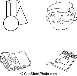 scatola, stile, set, contorno, icone, artista, simbolo, web., quaderno, collezione, autoritratto, disegni, pencils.artist, vettore, illustrazione, geometrico, ancora, colorato, disegno, vita, casato