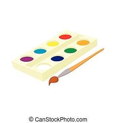 scatola, stile, spazzola watercolor, icona, cartone animato