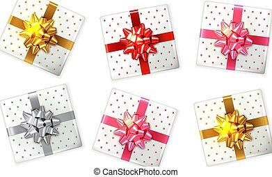 scatola, su., prodotto, set, collocamento, regalo, colorito, realistic., imballaggio, vettore, disegno, illustrazioni, beffare, 3d