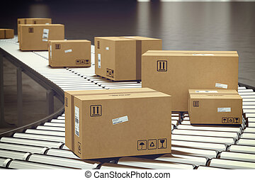 scatola, su, trasportatore, roller., 3d, interpretazione