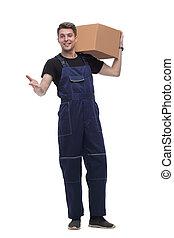 scatola, suo, lavoro, isolato, tuta, cartone, bianco, shoulder.