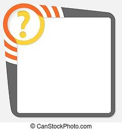 scatola, testo, domanda, marchio giallo, scuro