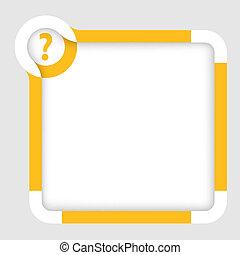scatola, testo, domanda, marchio giallo, vettore