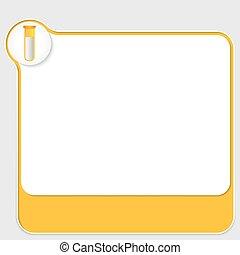 scatola, testo, tubo, giallo, prova, tuo