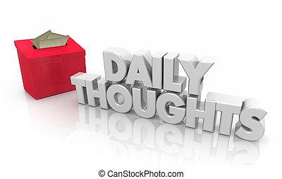 scatola, todays, idee, illustrazione, quotidiano, suggerimento, pensieri, 3d