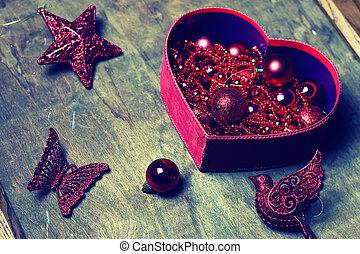 scatola, toned, palla, natale, rosso