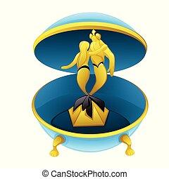 scatola, tritone, illustration., isolato, cartone animato, vettore, figure, fondo, bianco, musicale, sirena, closeup.