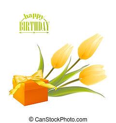 scatola, tulips, regalo, yelllow