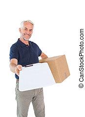 scatola, uomo, consegna, appunti, presa a terra, cartone, felice