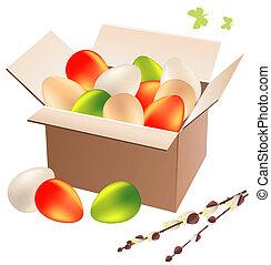 scatola, uova, pieno, pasqua, colorito