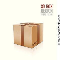 scatola, vettore, cartone