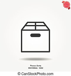 scatola, vettore, icona