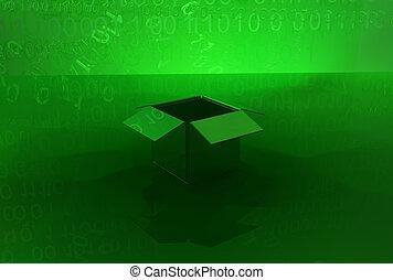 scatola, virtuale, uno
