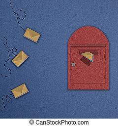 scatola, volare, 3, lettera, postale, rosso