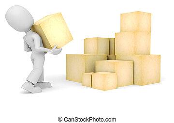 scatole, 3d, un po', uomo