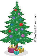 scatole, albero, regalo natale, giocattoli