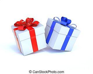 scatole, bianco, due, regalo, isolato