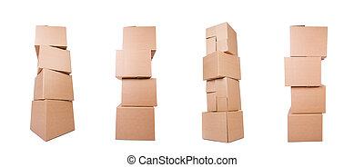scatole, bianco, isolato, set