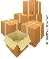 scatole cartone, fondo, isolato, vettore, accatastare, bianco