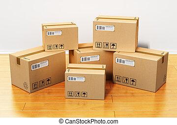 scatole cartone, in, casa nuova