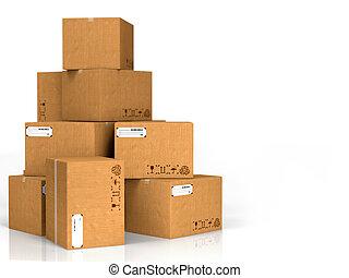 scatole, cartone, isolato, white.