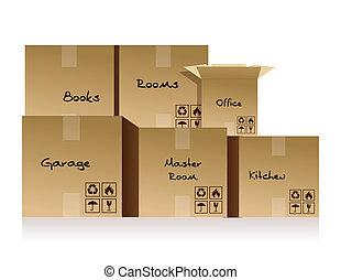 scatole cartone, mucchi