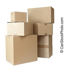 scatole, cartone, pila, pacchetto