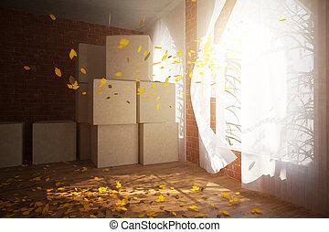 scatole, cartone, stanza, lato