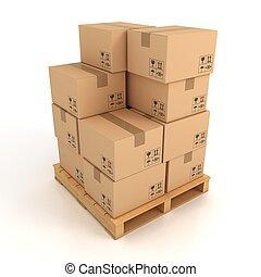 scatole cartone, su, legno, tavolozza