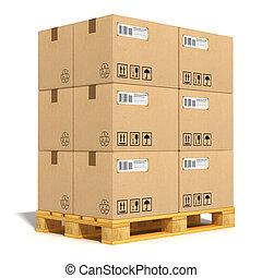 scatole cartone, su, spedizione marittima, pallet