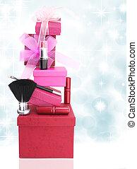 scatole, donna, cosmetica, regalo