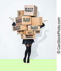scatole, donna, giovane, regalo, mani