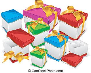 scatole, montagna, regalo