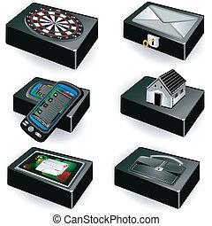 scatole, nero, collezione