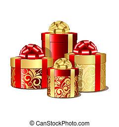 scatole, oro, rosso, regalo