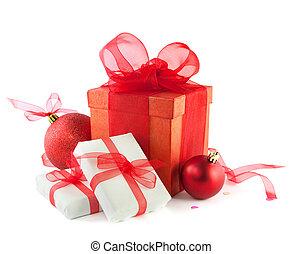 scatole, palle, isolato, white., regalo, natale
