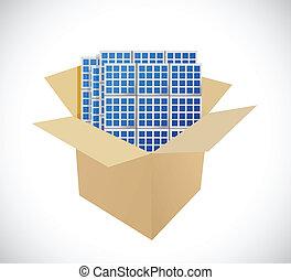 scatole, pannelli, disegno, solare, illustrazione
