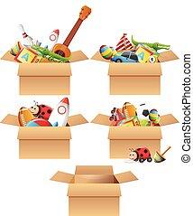 scatole, pieno, di, giocattoli