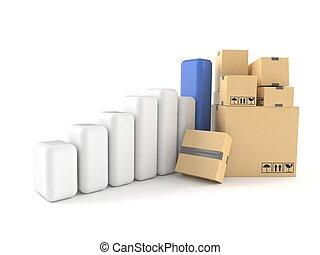 scatole, pila, grafico