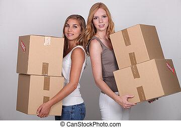 scatole, portante, ragazze
