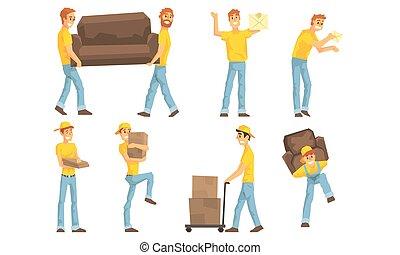 scatole posta, vettore, corrieri, servizio, pacchetto, pacchetti, cartone, mobilia, consegna, ditta, illustrazione, spostamento, portante