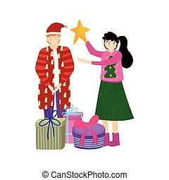 scatole, regalo, celebrazione, coppia, allegro, stella, natale
