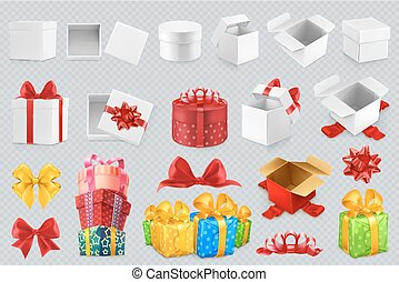 scatole regalo, con, bows., 3d, set, di, vettore, icone