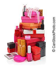 scatole regalo, cosmetica, fondo, bianco, pila