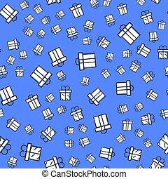 scatole regalo, seamless, pattern., modello, scatola regalo, per, tessuto, stampa, involucro, packag, scatola regalo, paper., blu, scatola regalo, con, nastro, e, bow.vector, illustrazione, in, contorno, stile