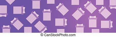 scatole regalo, su, rosa, viola, fondo, orizzontale, bandiera, con, presenta