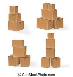 scatole, set, accatastare, cartone