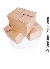 scatole, set, isolato, bianco