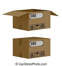 scatole, set, isolato, fondo, bianco