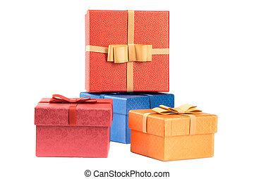 scatole, set, isolato, regalo, bianco